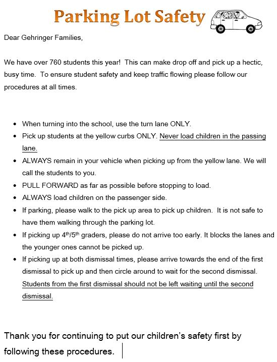Parking lot safety guidelines