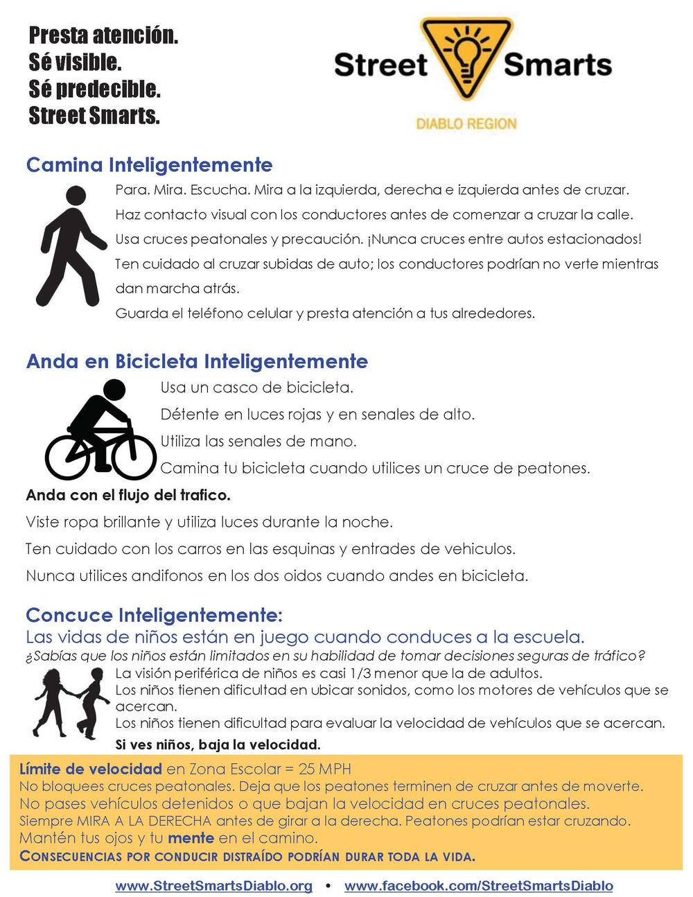 Street Smarts guidelines in Spanish